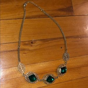 Green and gold gemstone necklace worn once